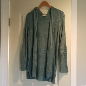 Women's aqua sweater with slits and hood size M